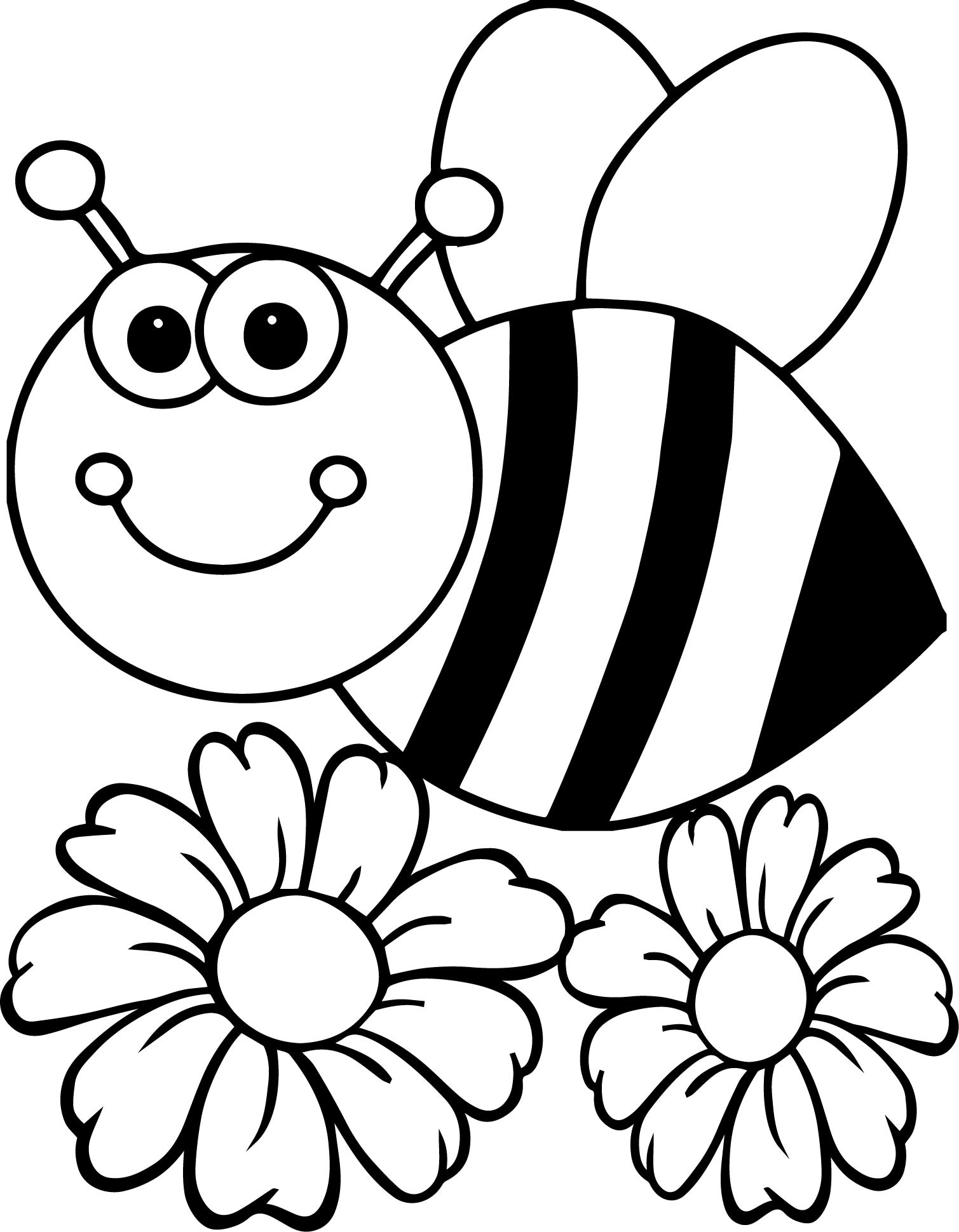 bee on flower coloring page bumblebee a bumblebee making chat with the flower coloring bee on page flower