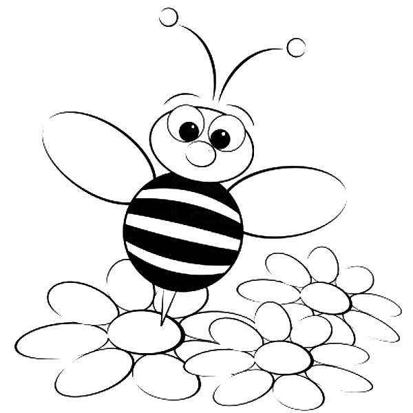 bee on flower coloring page cute bee pictures clipartsco coloring on flower bee page