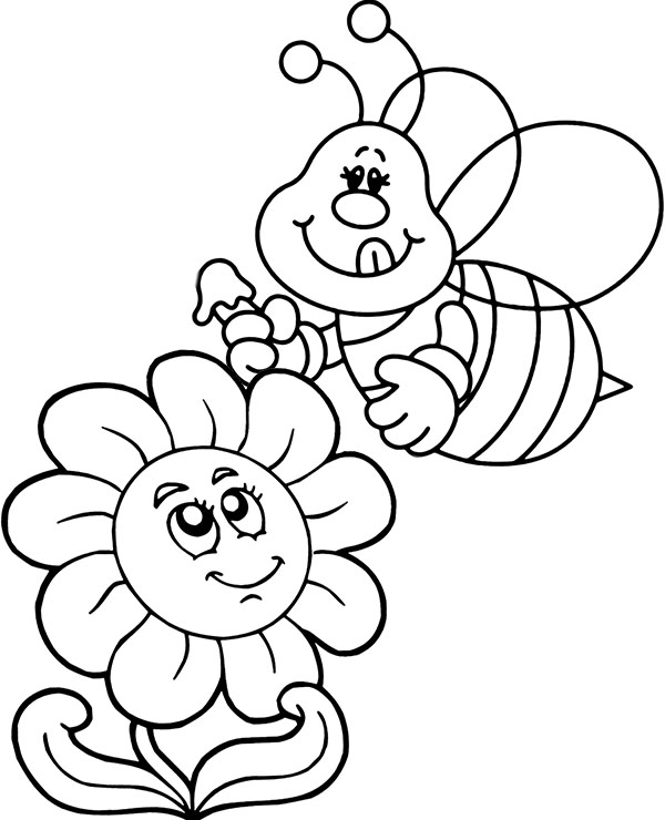 bee on flower coloring page little bee on a flower coloring page dengan gambar on flower coloring bee page
