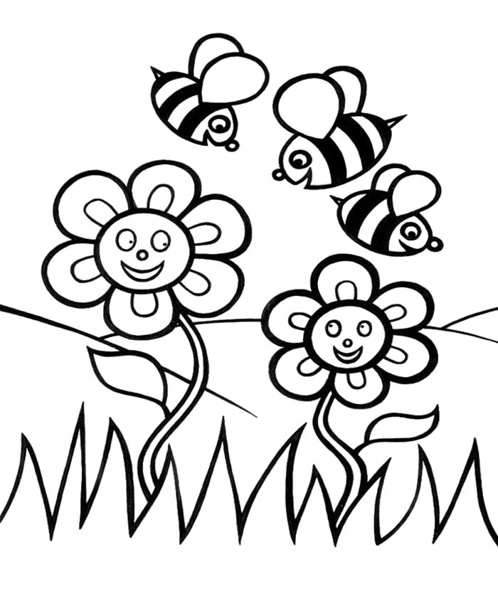 bee on flower coloring page print out coloring page bee with flower for kidsfree bee coloring on page flower