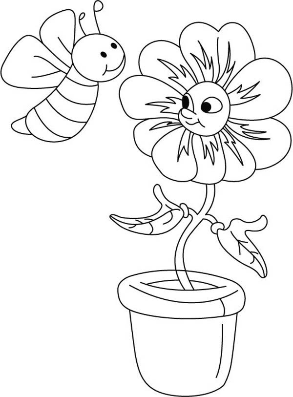 bee on flower coloring page simple spring coloring page for kids page flower bee coloring on