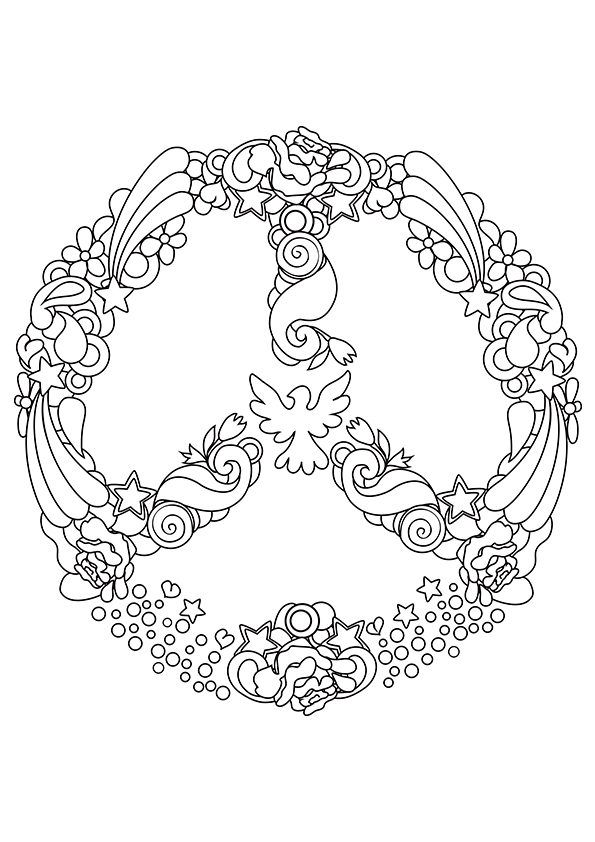 big peace sign coloring pages peace sign and vw kombi coloring page colouring for kids sign peace big coloring pages
