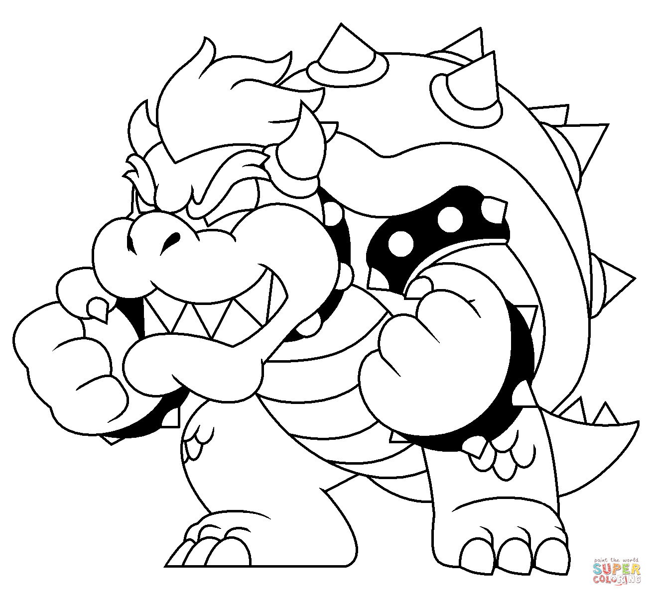 bowser to color bowser coloring pages free coloring home color bowser to