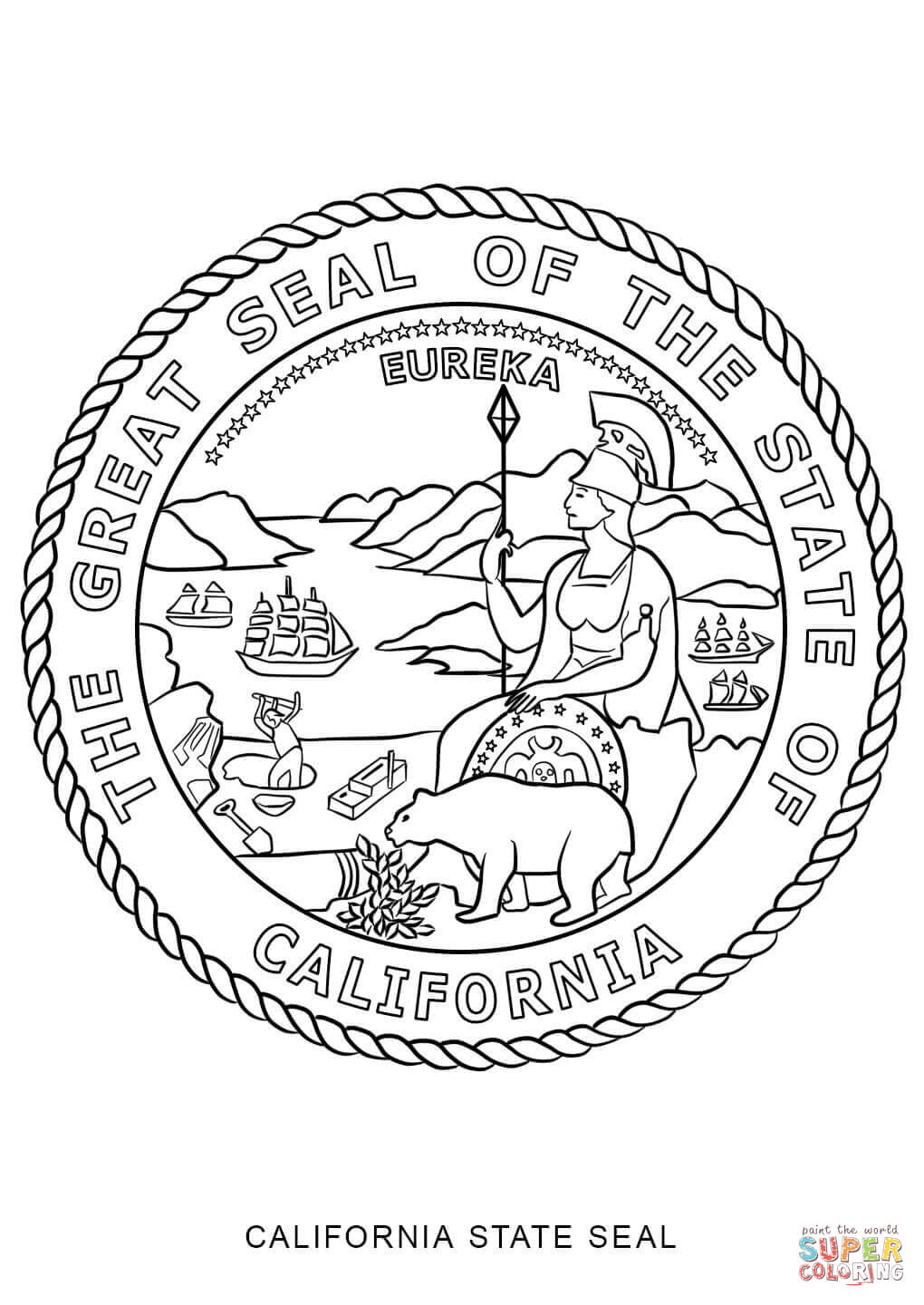 ca state seal california state seal coloring page free printable ca state seal
