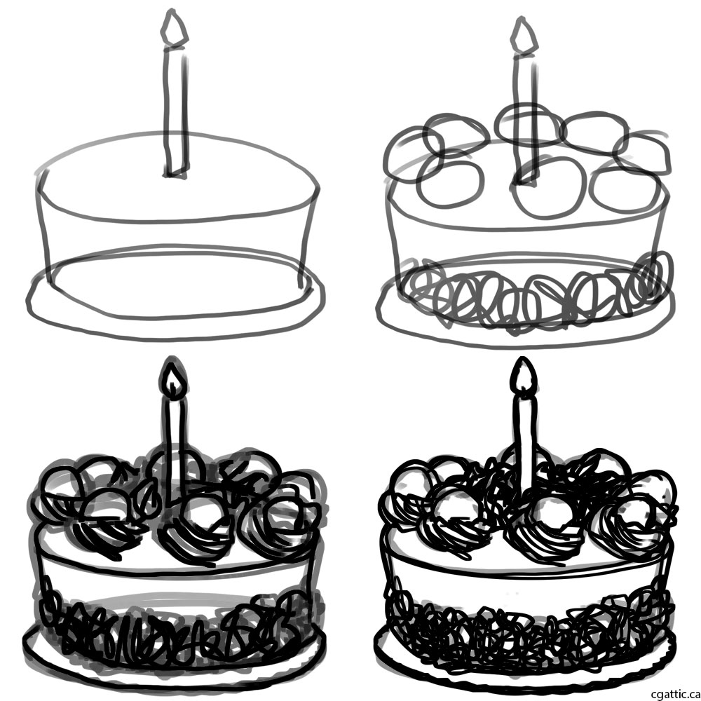 cake drawing cake cartoon drawing in 4 steps with photoshop drawing cake 1 1