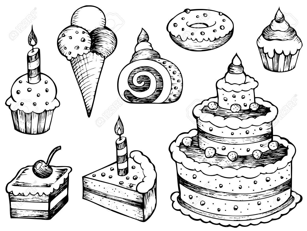 cake drawing sketch of cake at paintingvalleycom explore collection drawing cake