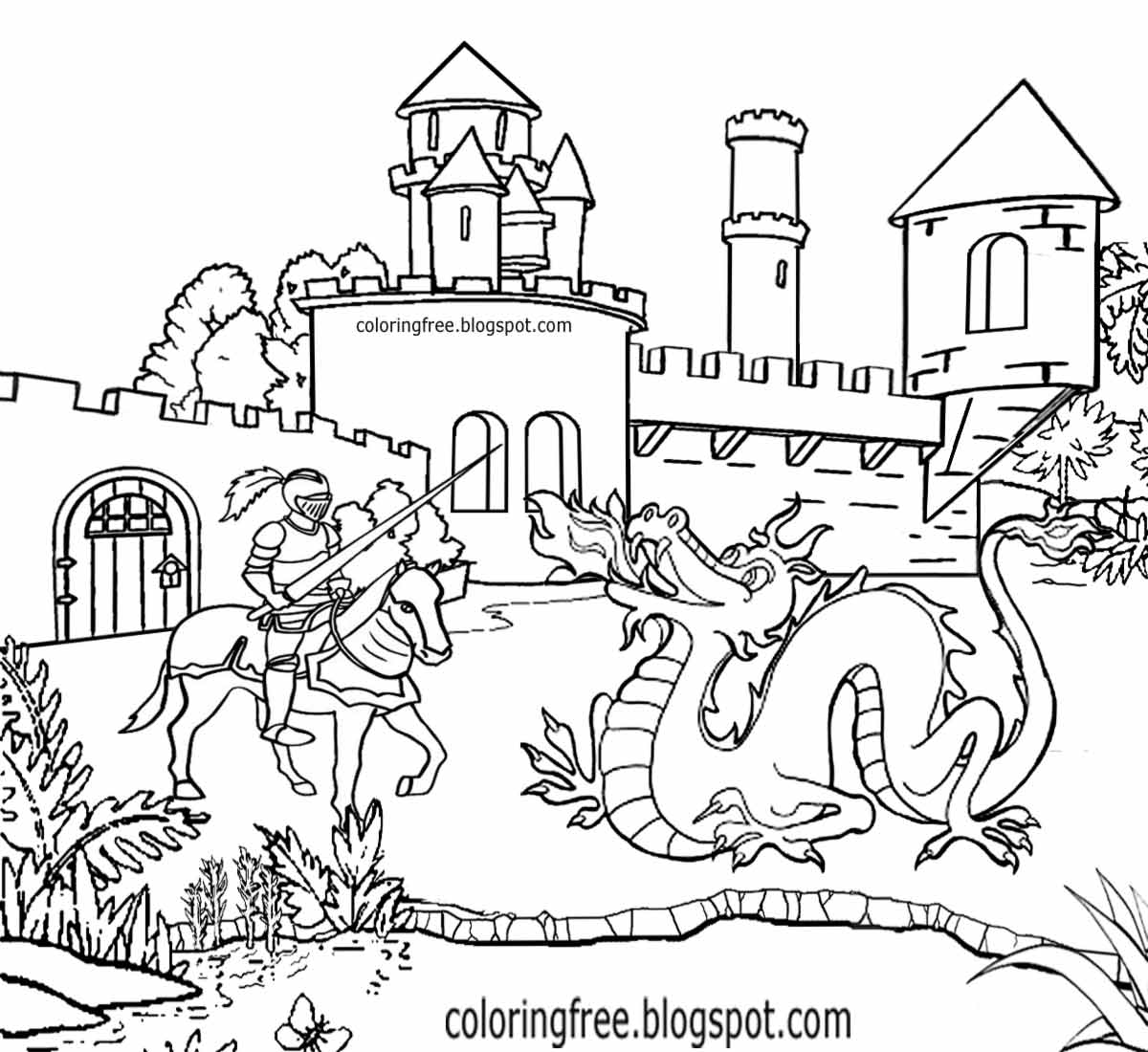 castle and knight coloring pages medieval castles drawing at getdrawings free download castle knight coloring and pages