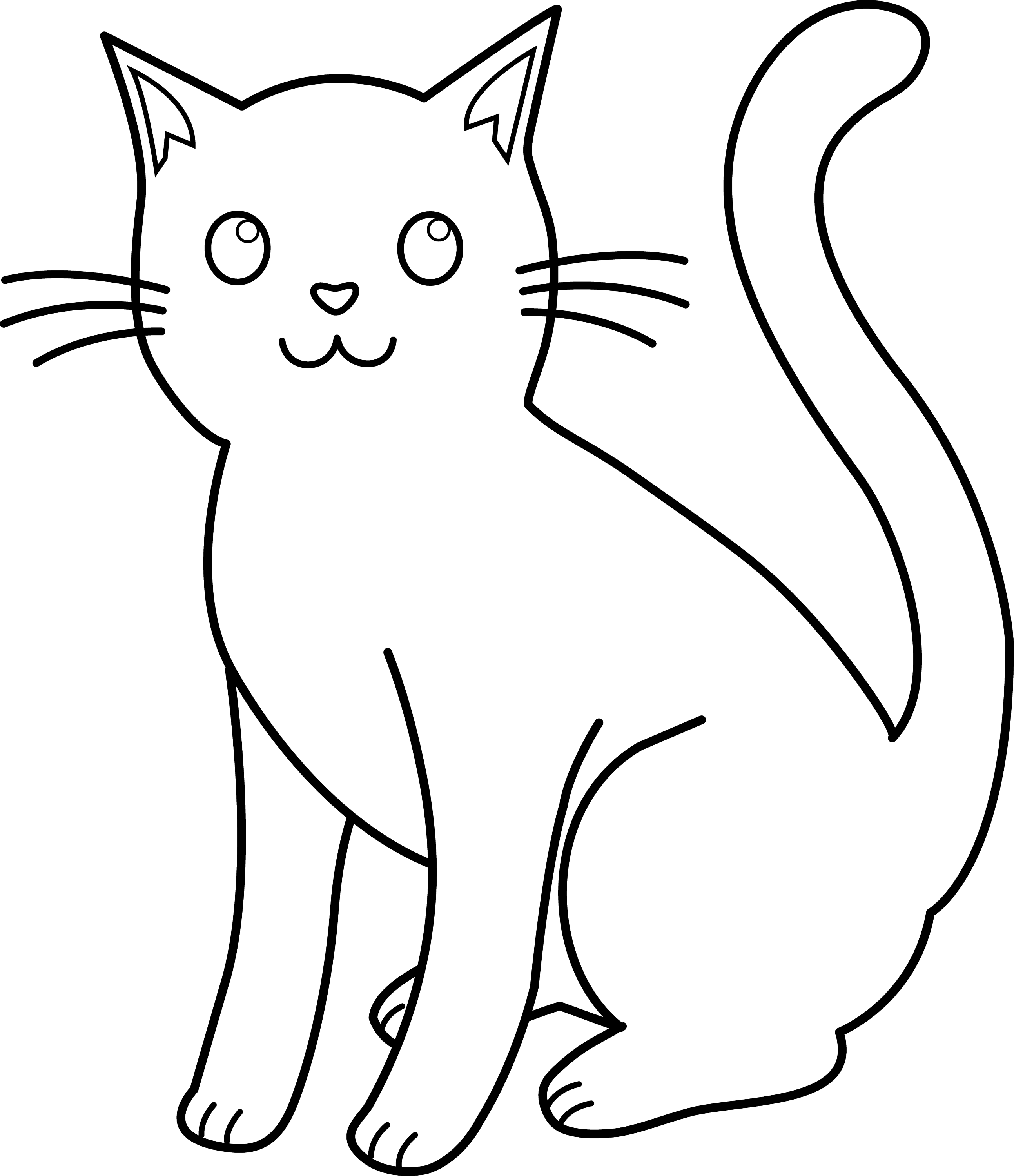 cat clipart coloring christmas cat line art free clip art clipart coloring cat