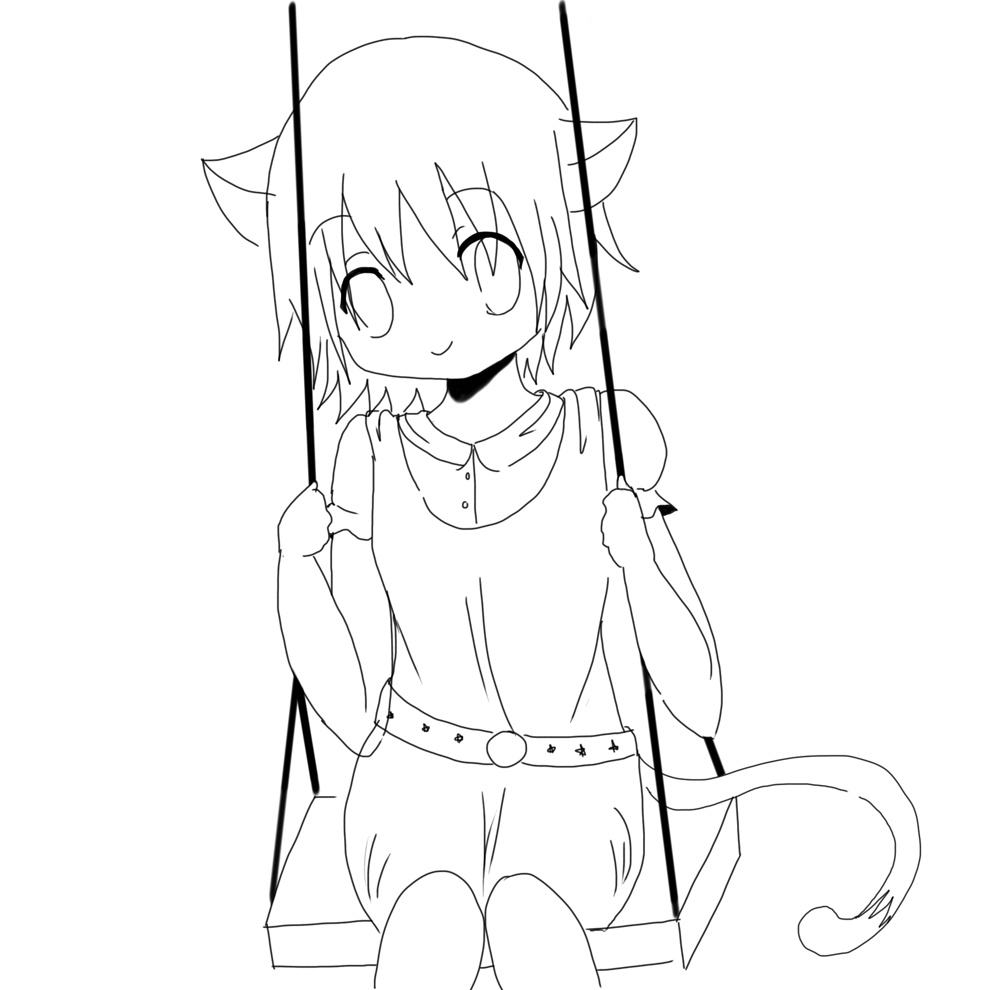 cat girl coloring pages cat girl lineart by crysa on deviantart girl pages coloring cat