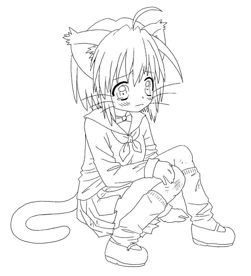 cat girl coloring pages cute anime chibi cat girls coloring page so cute kitty pages coloring girl cat