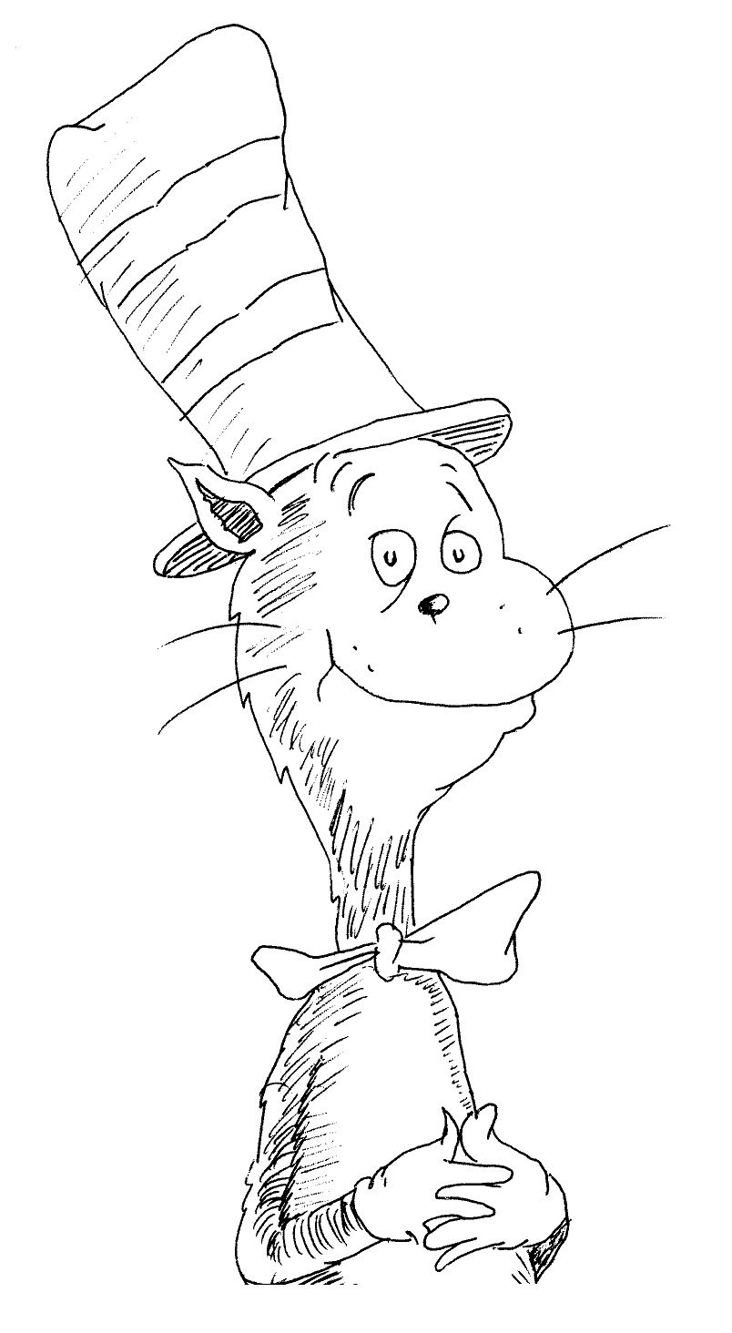 cat in the hat pictures to color free printable cat in the hat coloring pages for kids cat in the to hat color pictures
