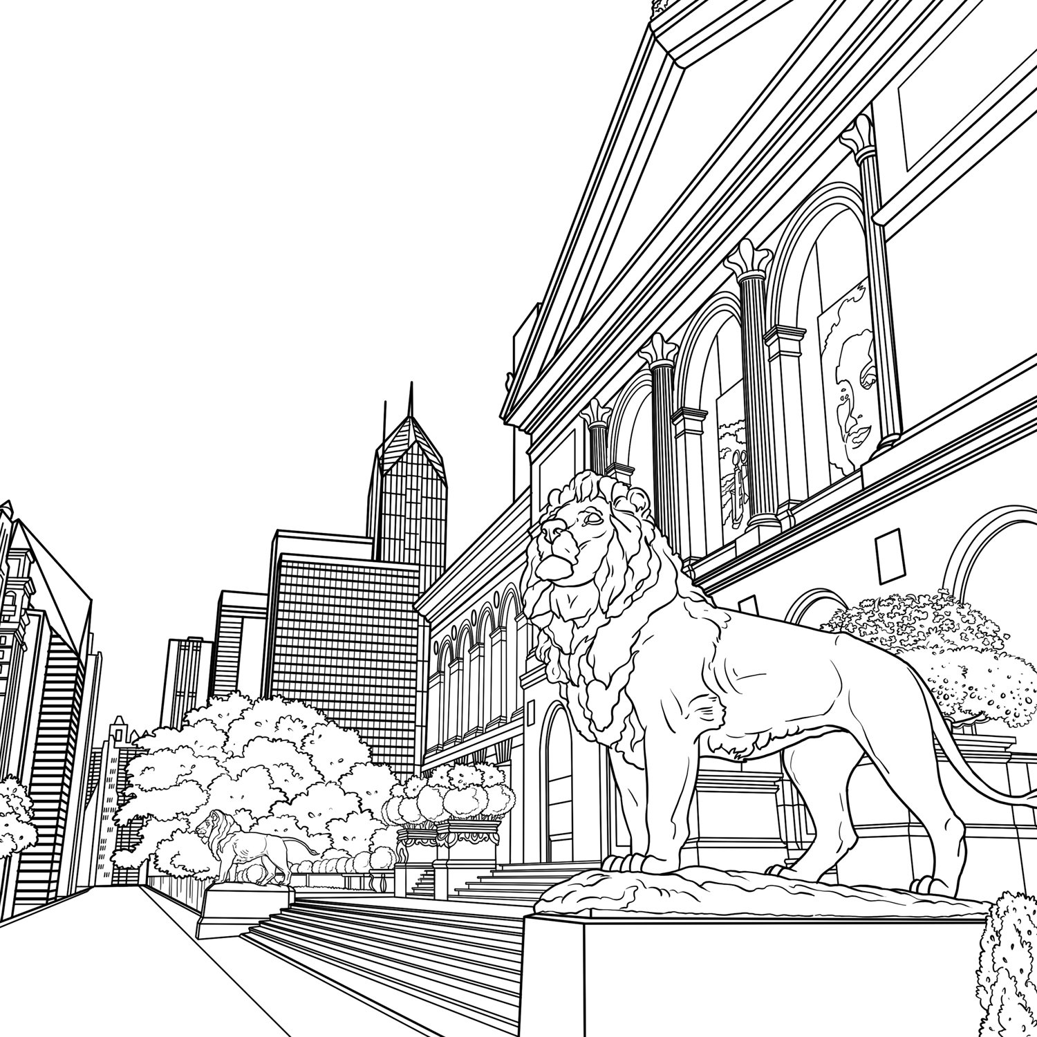chicago skyline coloring page chicago city drawing at getdrawings free download coloring skyline chicago page