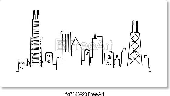 chicago skyline coloring page city skyline drawing at getdrawings free download coloring chicago page skyline