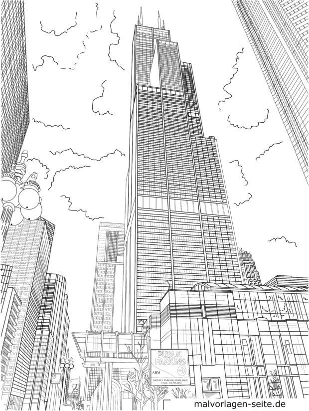 chicago skyline coloring page great free clipart silhouette coloring pages and skyline page coloring chicago