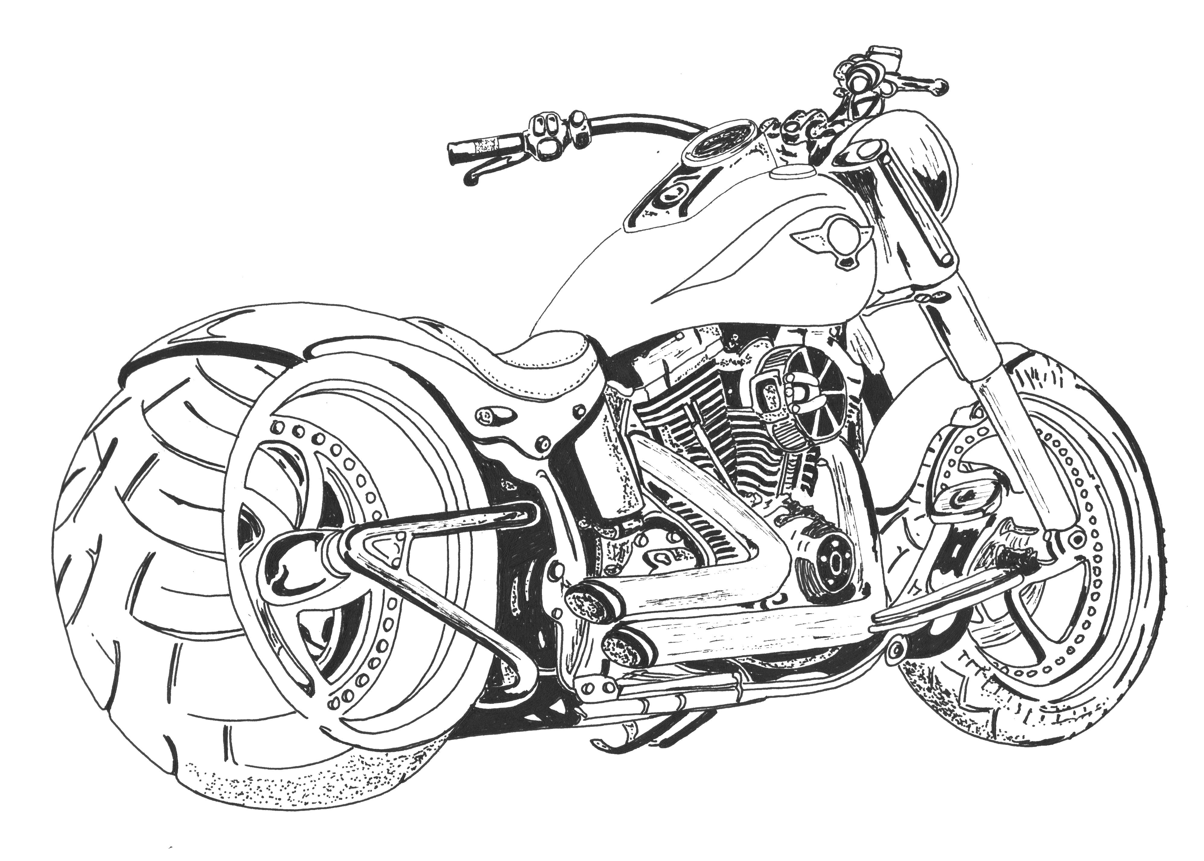 chopper drawing harley motorcycle sketch at paintingvalleycom explore chopper drawing