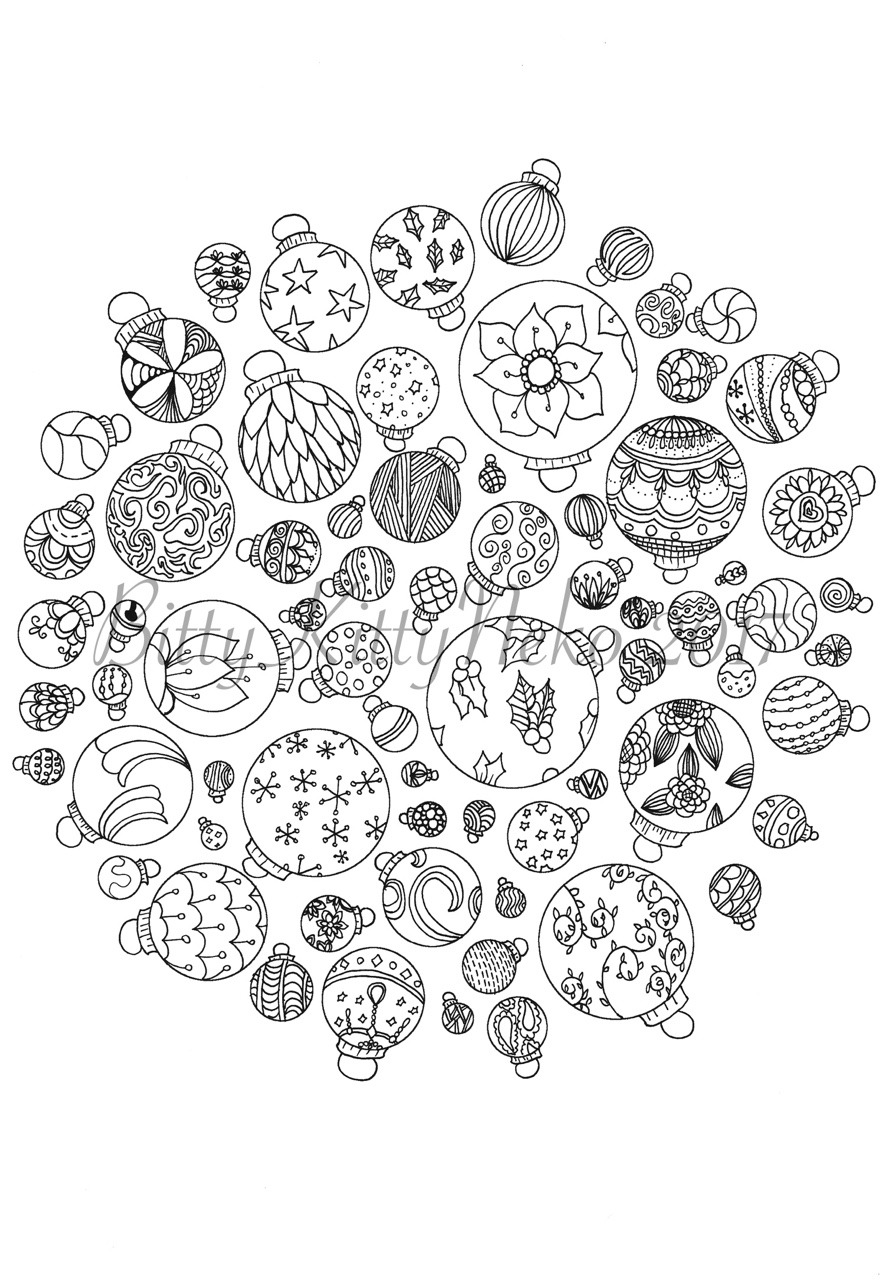 christmas baubles to colour in christmas baubles colouring page by bittykitty fur baubles in to christmas colour