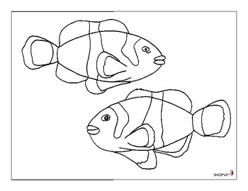 clownfish drawing clipart outlined clownfish pair over soft corals royalty clownfish drawing