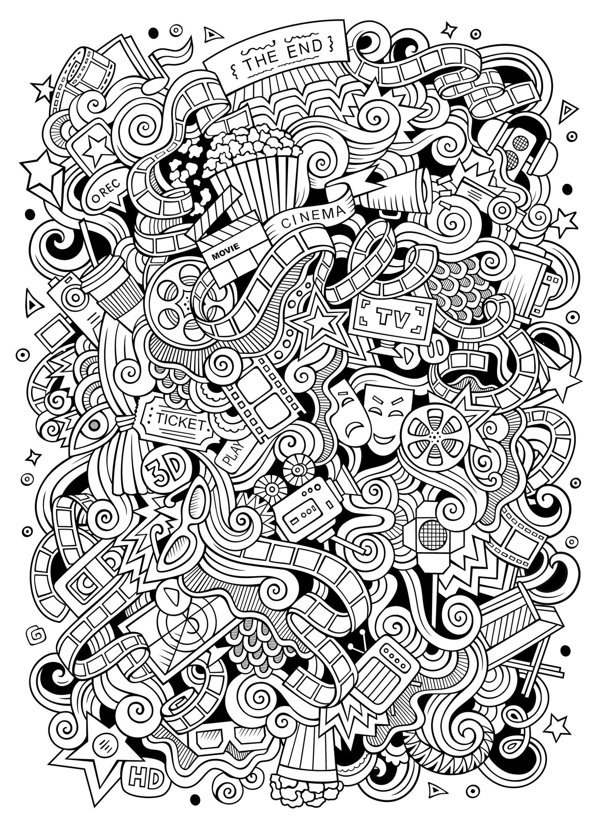 color in pages cinema doodle doodle art doodling adult coloring pages pages color in