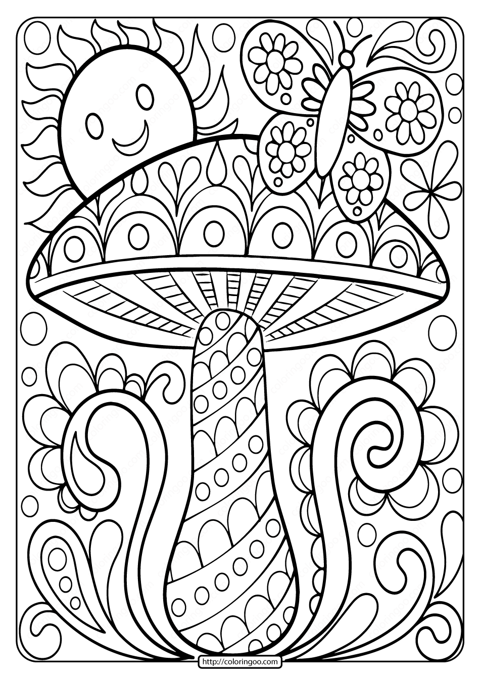 color in pages free printable mushroom adult coloring page in color pages