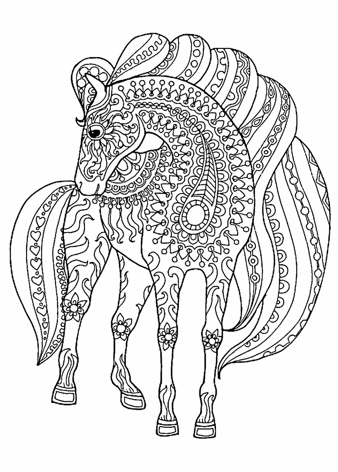color pages of horses hand drawn horse for adult coloring page art therapy stock color pages horses of