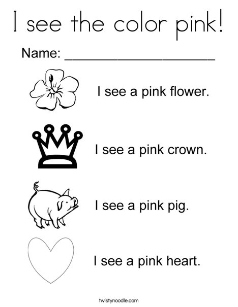 color pink coloring pages i see the color pink coloring page twisty noodle color coloring pink pages