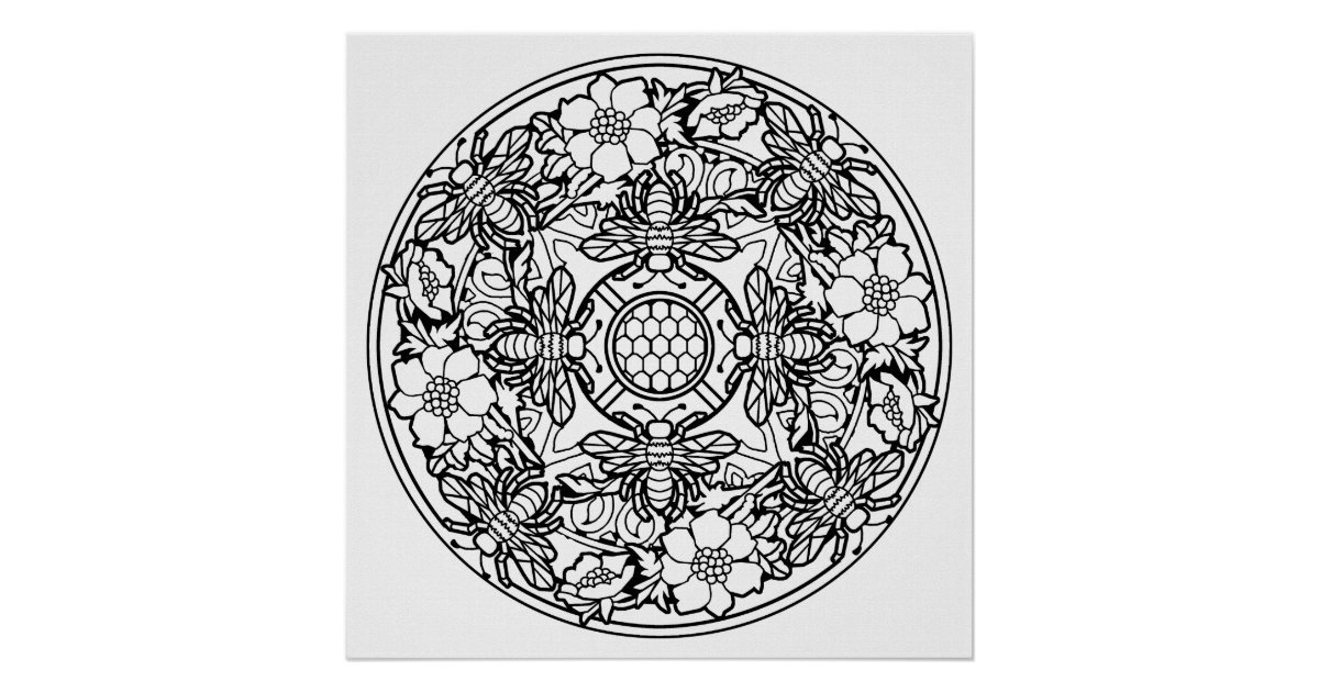 color your own mandala color your own bees mandala coloring poster zazzlecom your color mandala own