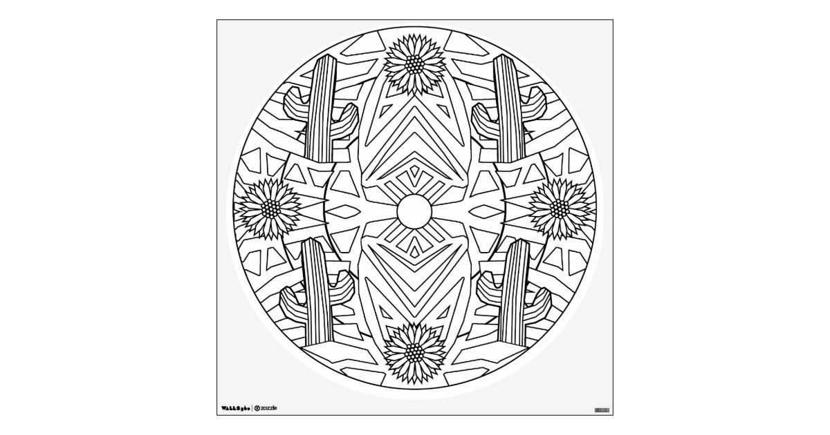 color your own mandala color your own mandala wall decal cactus flowers zazzlecom color your mandala own