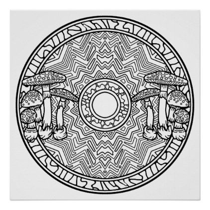color your own mandala color your own mushrooms mandala coloring poster zazzle own your color mandala