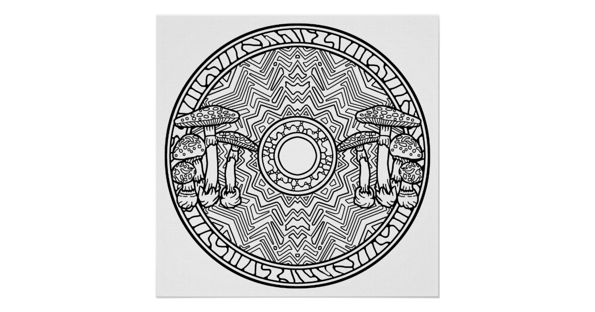 color your own mandala color your own mushrooms mandala coloring poster zazzlecom color your mandala own