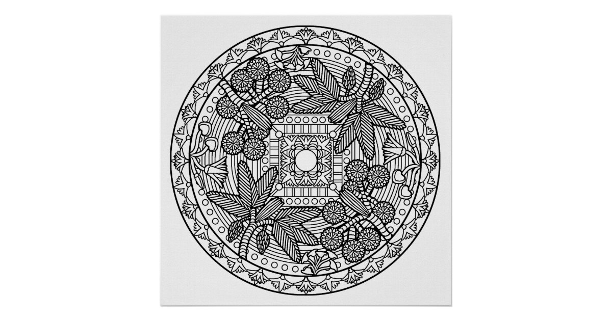 color your own mandala color your own palm tree mandala coloring poster zazzlecom own color your mandala