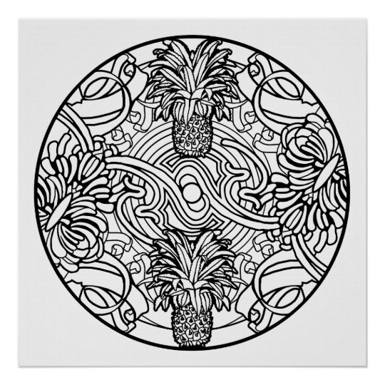 color your own mandala color your own pineapple mandala coloring poster zazzlecom mandala own color your