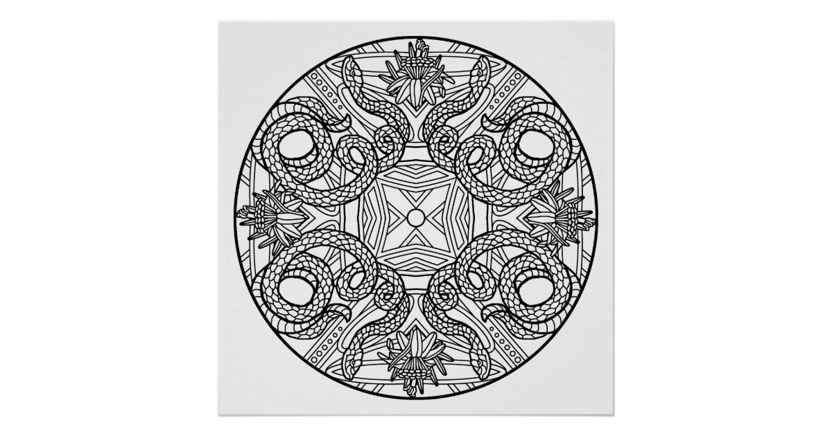color your own mandala color your own snakes mandala coloring poster zazzlecom mandala your own color