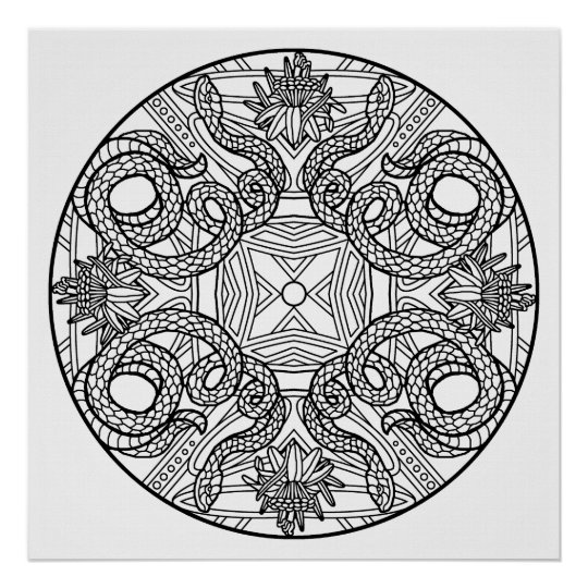 color your own mandala color your own snakes mandala coloring poster zazzlecom your mandala color own