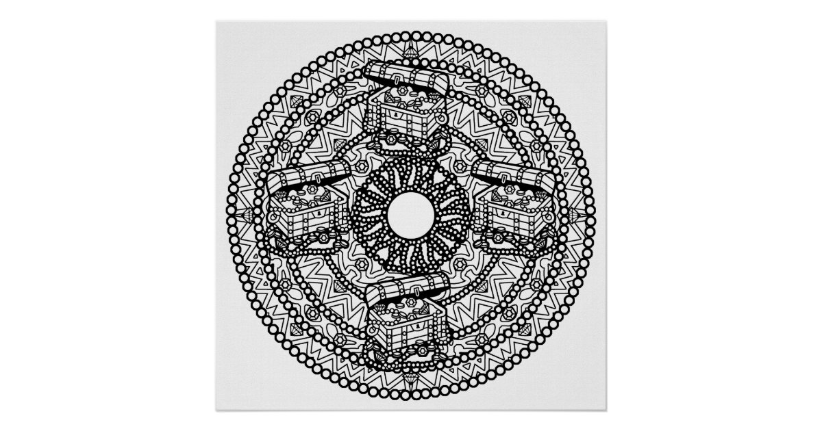 color your own mandala color your own treasure mandala coloring poste poster mandala color own your
