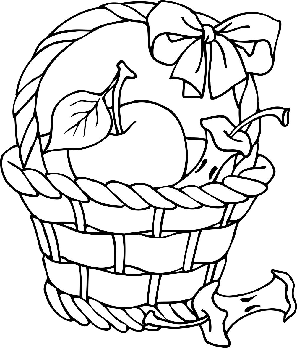 coloring apple basket clipart panda free clipart images basket apple coloring