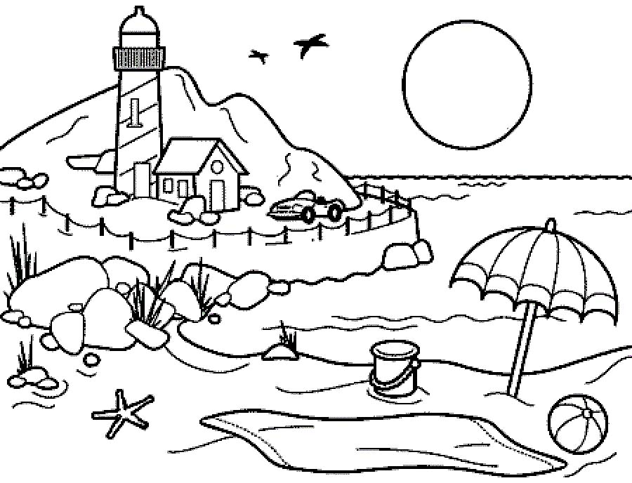 coloring beach scene beach coloring pages beach scenes activities beach scene coloring 1 1