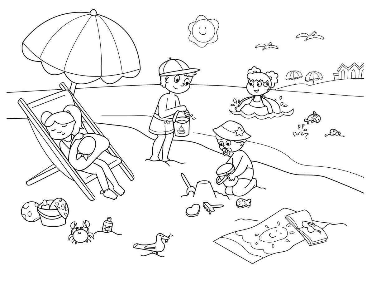 coloring beach scene beach coloring pages beach scenes activities coloring beach scene