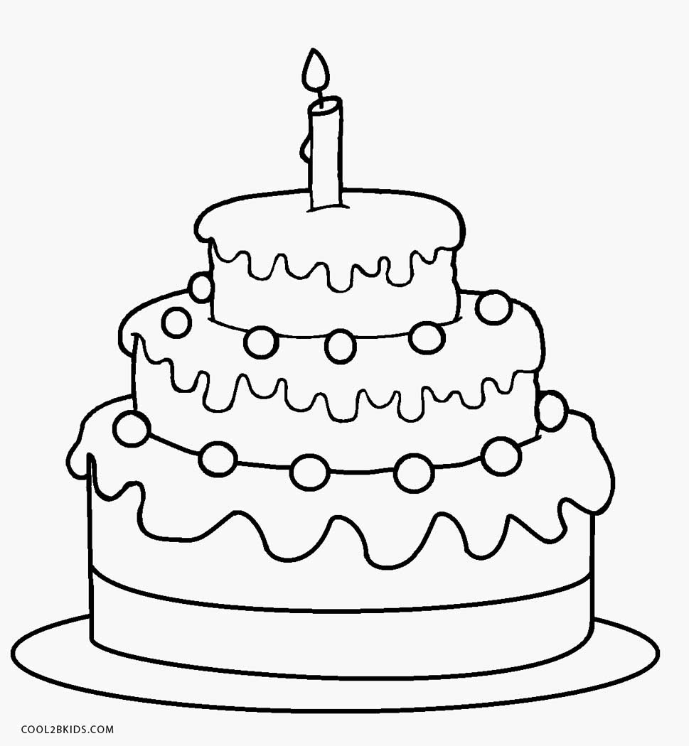 coloring cake for kids birthday cake color page in 2020 birthday cake with kids coloring cake for