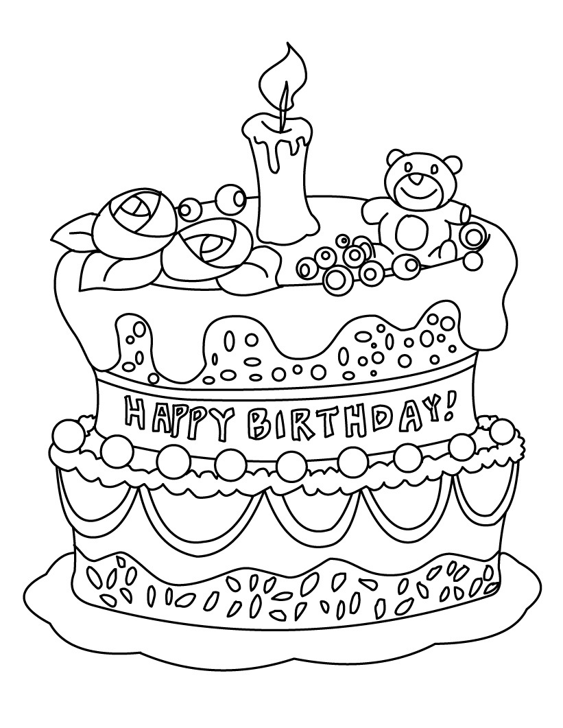 coloring cake pages free printable birthday cake coloring pages for kids coloring cake pages 1 2