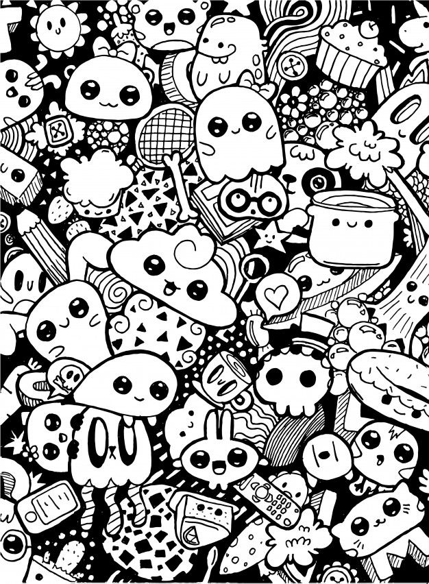 coloring cartoon characters black and white doodling cute kawaii cartoon characters black and white and white cartoon coloring characters black