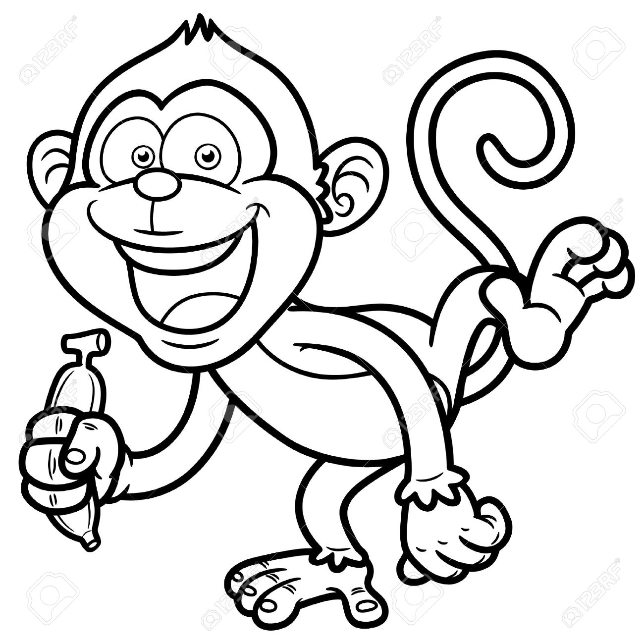 coloring cartoon clipart best monkey outline 16613 clipartioncom coloring clipart cartoon