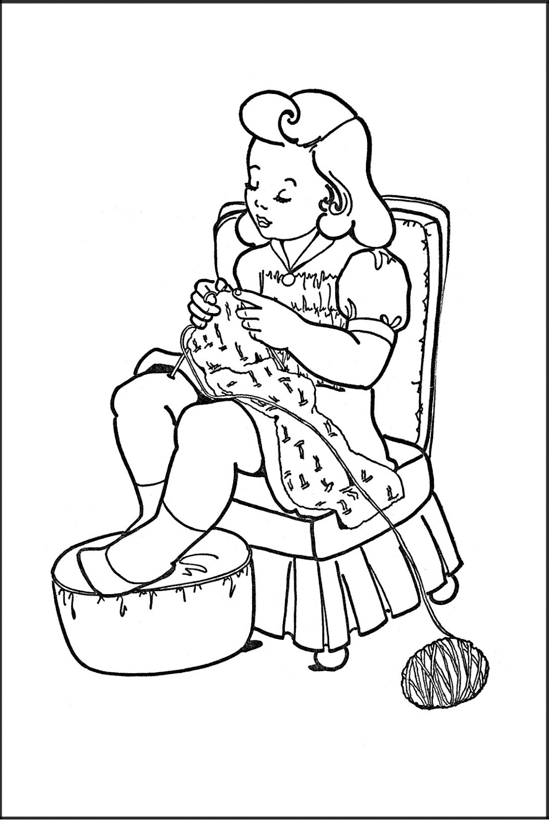 coloring clipart for kids kids printable coloring page girl knitting the clipart kids coloring for