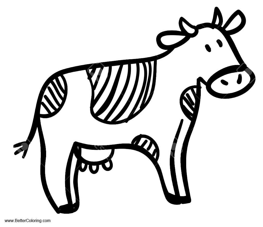 coloring cow drawing easy cute cartoon cow coloring page free printable coloring pages easy cow coloring drawing