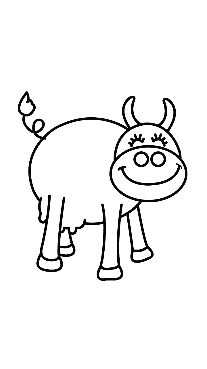 coloring cow drawing easy how to draw a cute cow with 09 simple steps easy draw drawing easy coloring cow