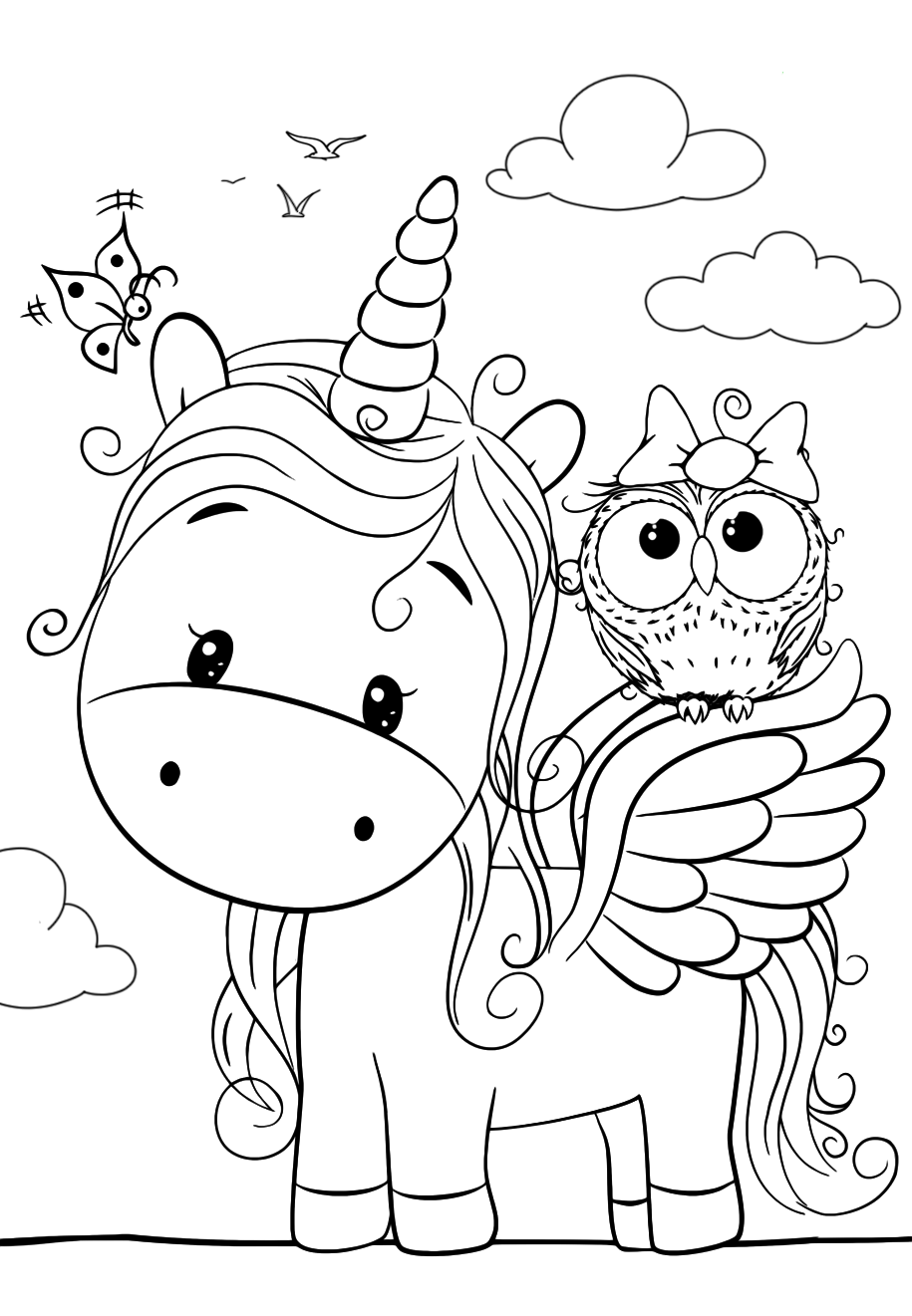 coloring cute pictures cute unicorn with an owl coloring pages for you cute pictures coloring