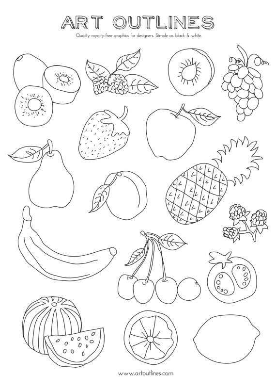 coloring different fruits set of fruits art outlines full page 16 original hand different coloring fruits