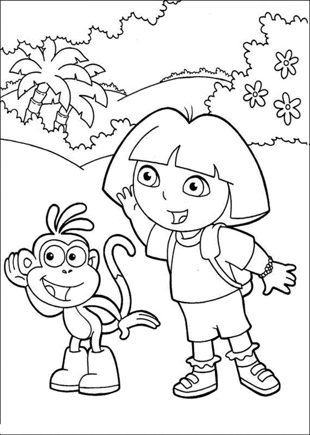 coloring dora cartoon print download dora coloring pages to learn new things dora cartoon coloring