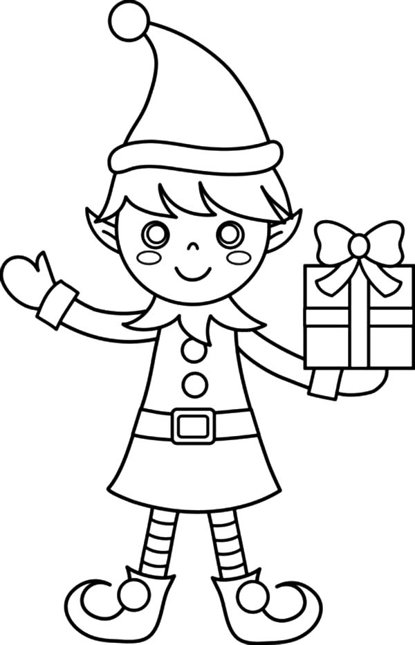 coloring elf christmas christmas elf with presents coloring page free printable coloring christmas elf