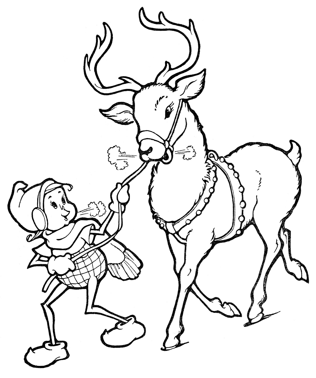 coloring elf christmas christmas line art elf with reindeer the graphics fairy coloring elf christmas