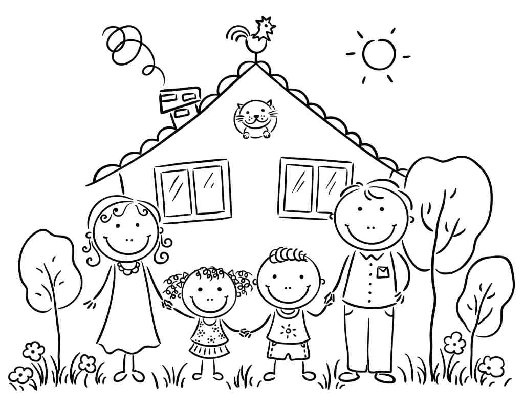 coloring family picture kids family drawing at getdrawings free download family coloring picture